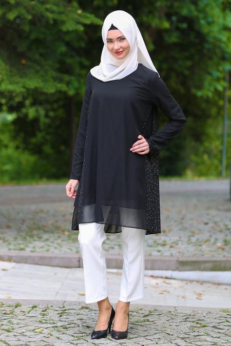 Zernişan - Taş ve İnci Detaylı Siyah Tesettür Tunik 4843S